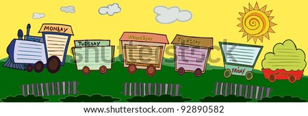 Vector illustration, cute train shaped schedule, cartoon concept.