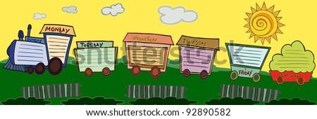 Vector illustration, cute train shaped schedule, cartoon concept. - stock vector