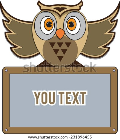 Vector illustration. Cute vector owl with place for text. - stock vector