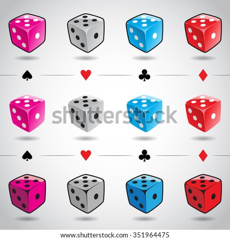 Vector Illustration 3d Colorful Glossy Dices and Card Suits isolated on a white background - stock vector