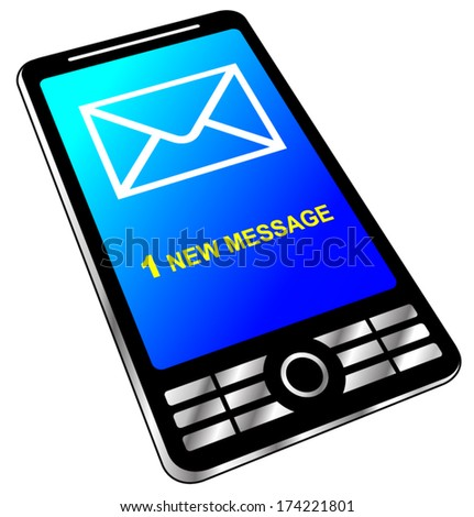 vector illustration 3d of phone with new message - stock vector