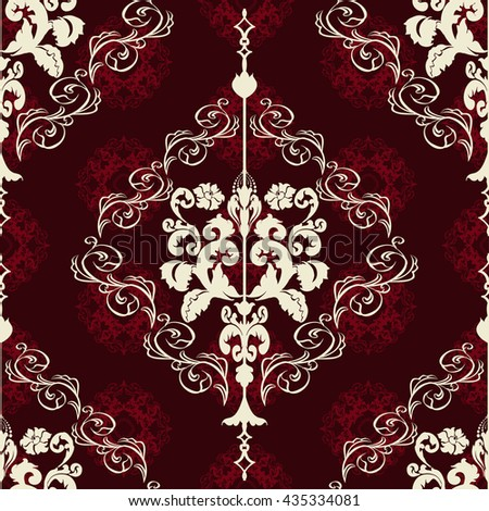 Vector illustration. Damask seamless floral pattern.