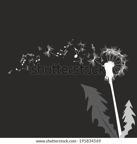 Vector illustration dandelion against the black background