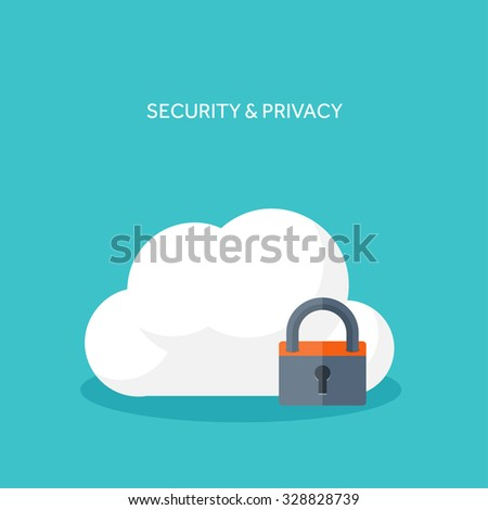 Vector illustration. Data storage. Cloud computing. Flat background. Web storage. Folder and documents. information transfer. Internet search and media server.Security and protection.