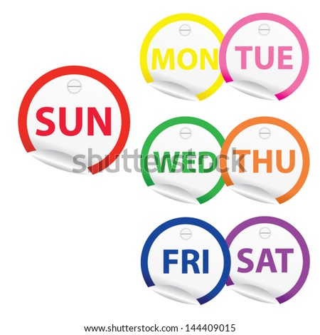 Vector illustration. 7 days of week from Monday to Sunday colorful stickers.