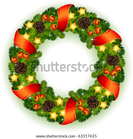 Vector illustration - decorated christmas wreath - stock vector