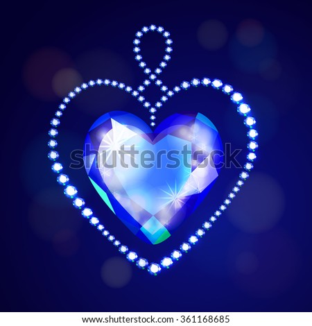 Vector illustration: decorative heart made of blue glittering crystals isolated on dark blue background with shining bokeh - stock vector