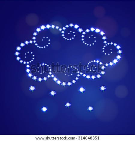 Vector illustration: decorative icon Cloud with Hail made of blue  crystals isolated on dark blue background with bokeh circles - stock vector