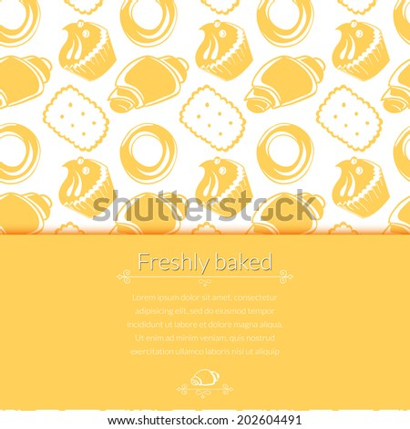 Vector illustration  delicious pastries, cookies, croissants, biscuits in outline doodle style, background with place for text