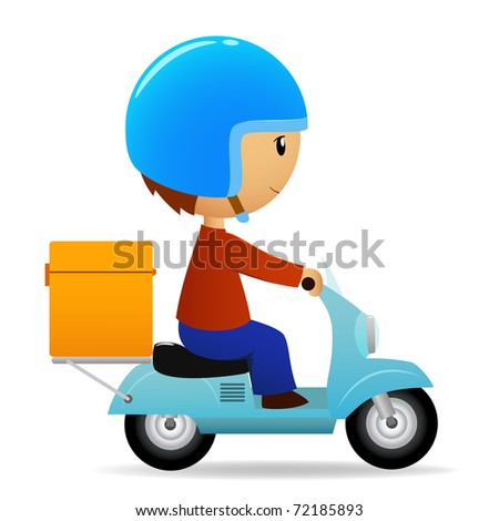 Vector illustration. Delivery cartoon scooter with big orange box