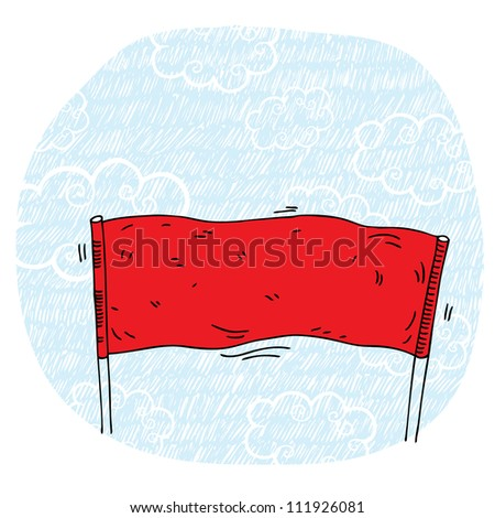 Vector illustration demonstration with red banner and blue sky - stock vector