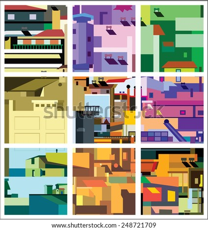 Vector illustration. Densely built houses. Architectural Chaos - stock vector
