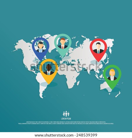 Vector illustration depicting people around the world. Head hunting for global business, concept design. - stock vector
