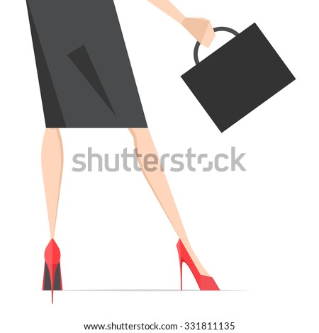 Vector illustration depicting the legs of a woman in high heels with bag - stock vector