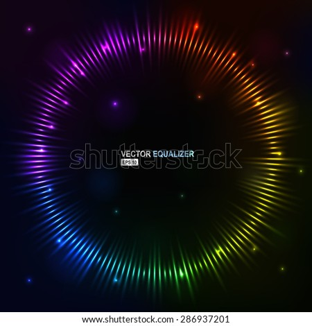 Vector illustration digital spectrum equalizer club studio dance music. Sound wave futuristic display. Music equalizer. Equalizer Drawing. Equalizer Graphic. Sound equalizer waves Sound Waves Volume - stock vector