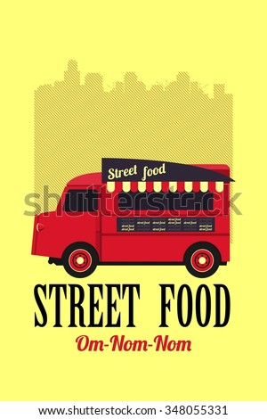 vector illustration diner on wheels on the bus on the background of the city - stock vector