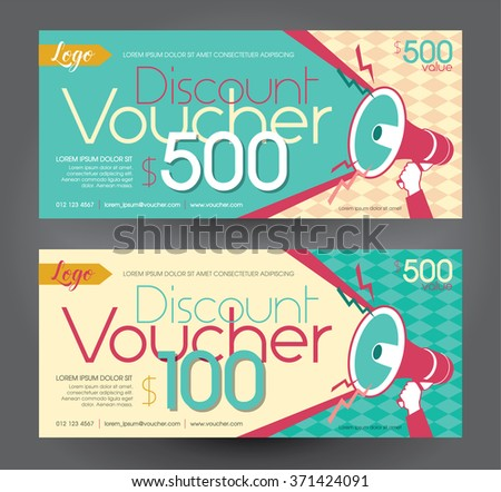 Vector illustration,Discount voucher template with clean and modern pattern. - stock vector