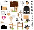 Vector illustration: Dog & cat blank sign graphic design elements (Part 1) - stock vector