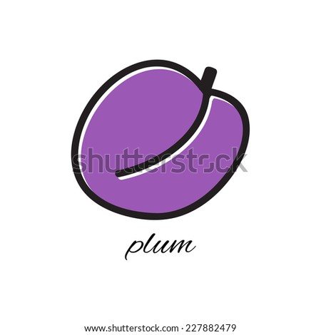 Vector illustration. Doodle plum. Hand-drawn object isolated on white background. Easy paste to any background - stock vector