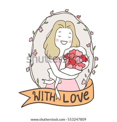 Vector illustration draw character design of cut girl valentine sweet vintage frame in valentine.Doodle style.