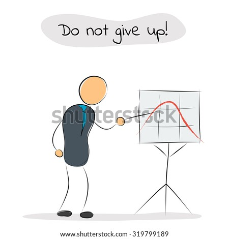 Vector illustration. Drawing. Businessman shows on growth chart with a bad result