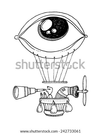 vector - illustration drawing for a card with a flying machine with a hot air balloon in the shape of an eye, a propeller and a spyglass - stock vector