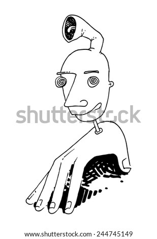 vector illustration drawing for a card with a hand with a head, funny, strange