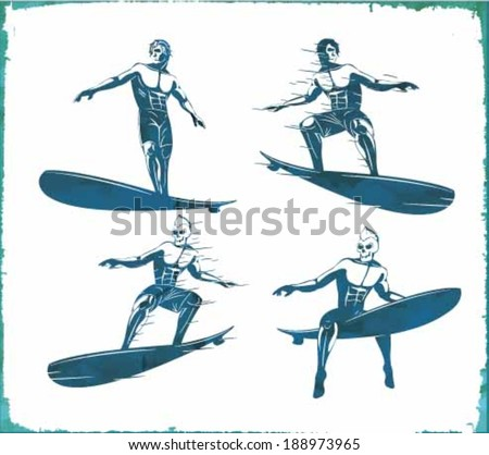 vector illustration drawing. hawaii surf beach. summer tropical heat print.hawaii surf print vector set. illistration surf riders - stock vector