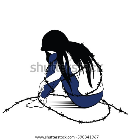 Vector illustration drawing ink sketching style stock - Cartoon girl sitting alone ...