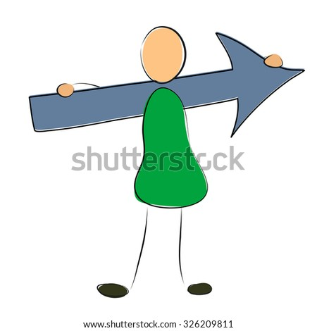 Vector illustration. Drawing. Man holds the arrow on the shoulders - stock vector