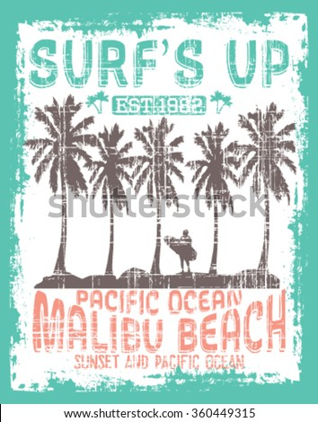 Vector illustration drawing. pacific surf wave.  surf print vector set,wave illustration. Malibu Beach Surf  vector print and varsity. For t-shirt or other uses in vector.T shirt graphic - stock vector