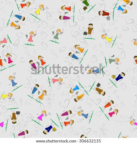 Vector illustration. Drawing. Seamless pattern of men and women with bag phone and flowers - stock vector