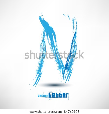 Vector illustration drawn by hand letter. Grunge wave. - stock vector