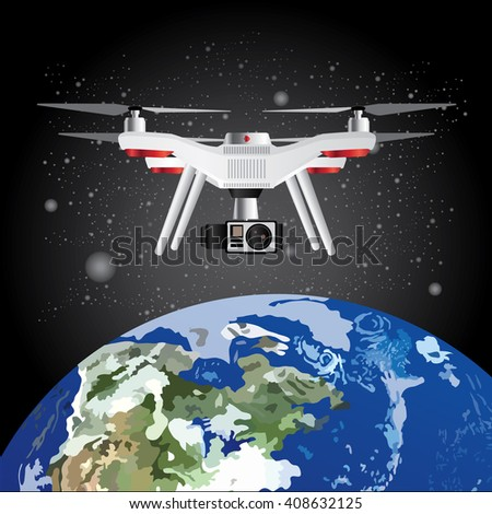 Vector Illustration Drone Outer Space Earth