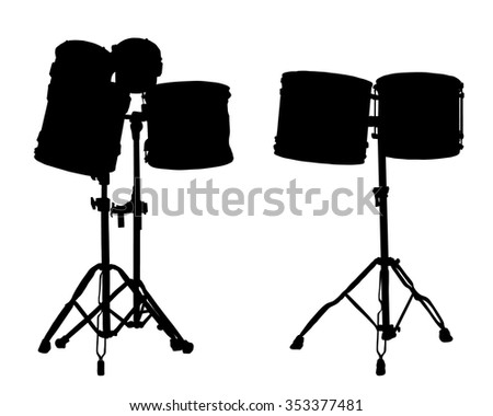 Vector illustration - drums - silhouette
