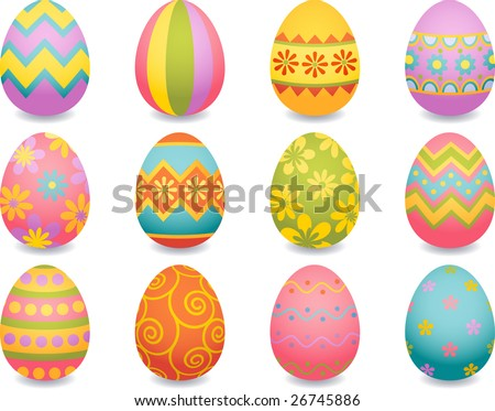 Vector illustration - easter egg icons - stock vector