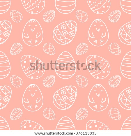 Vector illustration Easter eggs with hand drawn happy chicken and different ornaments seamless pattern - stock vector