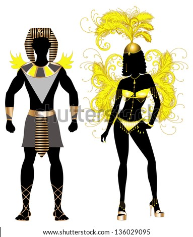 Vector Illustration Egyptian Couple for Carnival Costume Silhouettes with a man and a woman. - stock vector