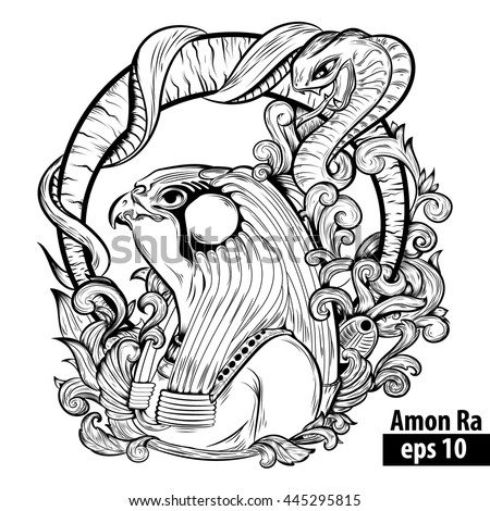 vector illustration Egyptian god Amon Ra with snake. Illustration for coloring page, tattoo, design, t-shirts and more - stock vector