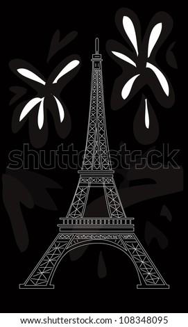 vector illustration: Eiffel tower on black - stock vector