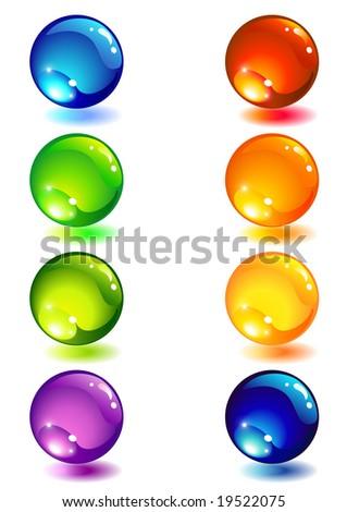 Vector illustration - Eight glass colour button - stock vector