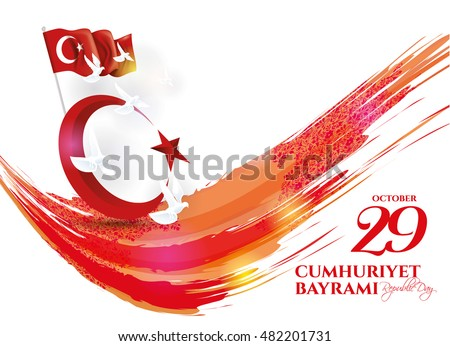 vector illustration 29 ekim Cumhuriyet Bayrami, Republic Day Turkey. Translation: 29 october Republic Day Turkey and the National Day in Turkey. celebration republic, graphic for design elements