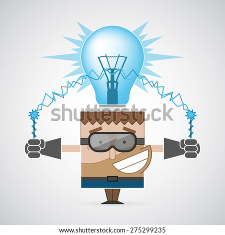 Vector illustration. Electric man and light blue bulb. Concept got an idea. Colorful, creative and modern character for advertising, poster, banner, web and flyer.