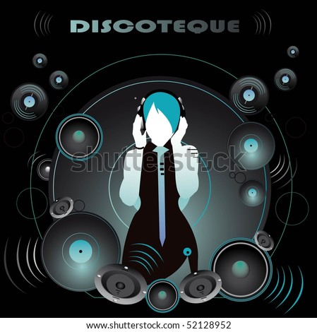 vector illustration,electronic music events,underground party flyer,print, dj girl with headphones