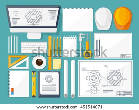 Vector illustration. Engineering and architecture. Drawing, construction. Architectural project. Design, sketching. Workspace with tools. Planning, building. - stock vector