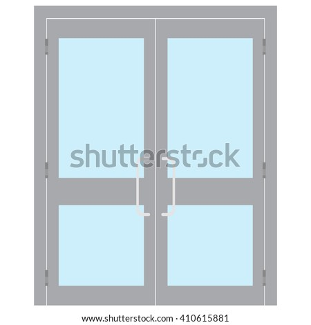 Vector illustration entrance door for office, home, store, mall, shop, supermarket isolated on white in flat style. Shop Front.  - stock vector