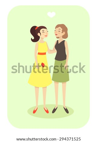 vector illustration EPS 10/ happy lesbian couple in casual clothes - stock vector