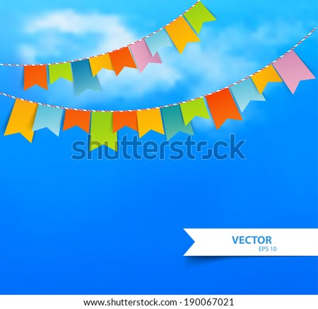 Vector illustration (eps 10) of Blue sky with colorful flags - stock vector