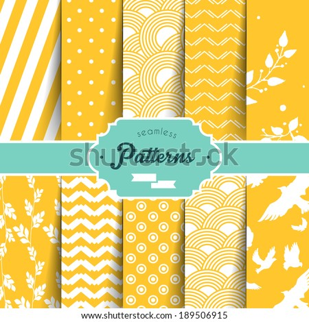 Vector illustration (eps 10) of Seamless patterns set - stock vector