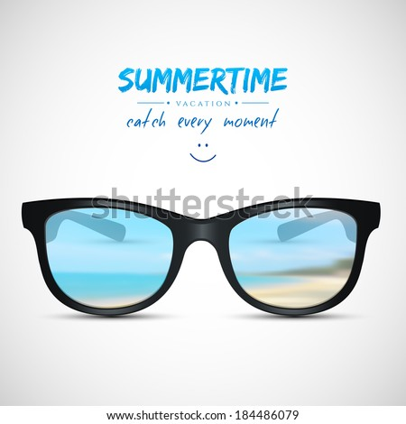 Vector illustration (eps 10) of Summer sunglasses with beach reflection - stock vector